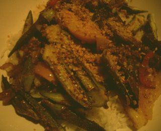 Sauteed Okra with Shallots, Tomatoes, Jalepenos, Ground Peanuts ...